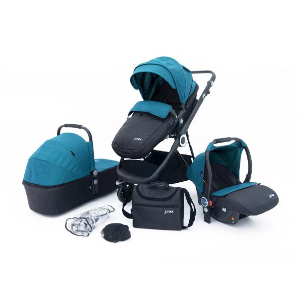 Kombi-Kinderwagenset blau/grau