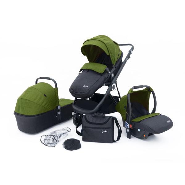 Kombi-Kinderwagenset grün/grau