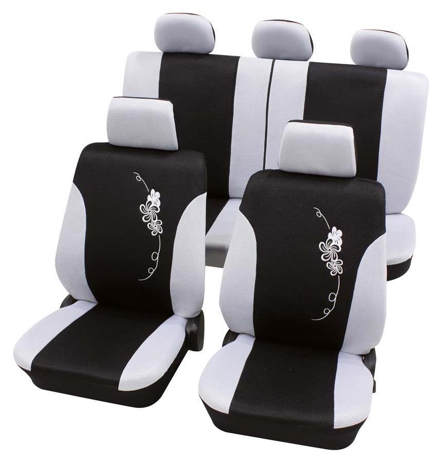 Sitzbezugset Universal Eco Class Flower weiß 17-teilig Größe SAB 1 Vario Plus