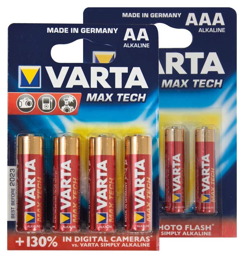 Varta Max Tech-AA Batterie MX1500/LR06, 4er Blister