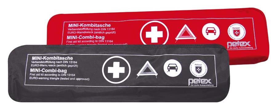 Kombitasche p l u s mit Klettband best. aus EURO-Warndreieck, Verbandstofffüllung und Sicherheitsweste, schwarz