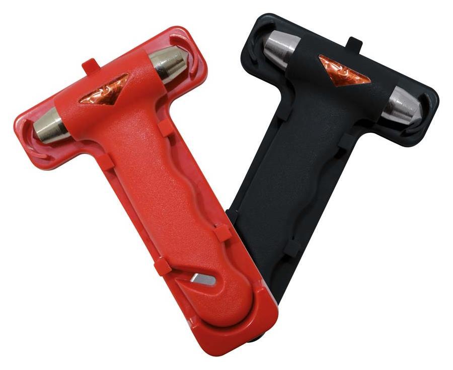Notfallhammer mit Gurtschneider, Farbe: schwarz