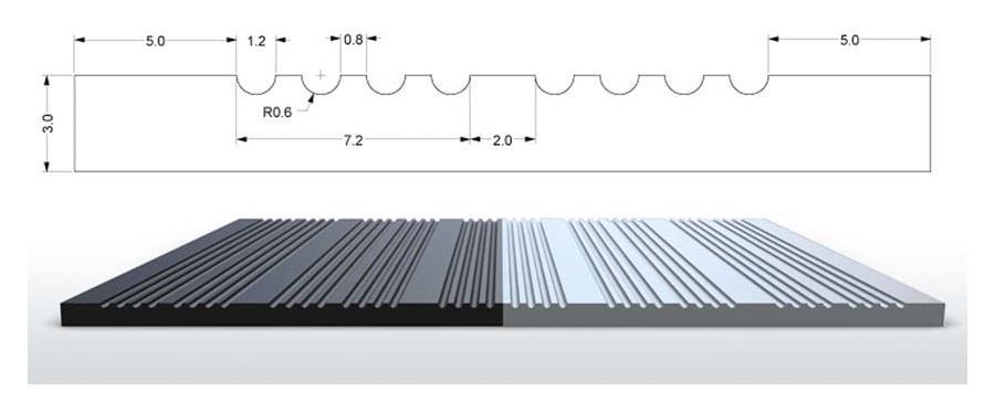 Rillengummi Rollenware Design S2 Breite 120 cm, schwarz