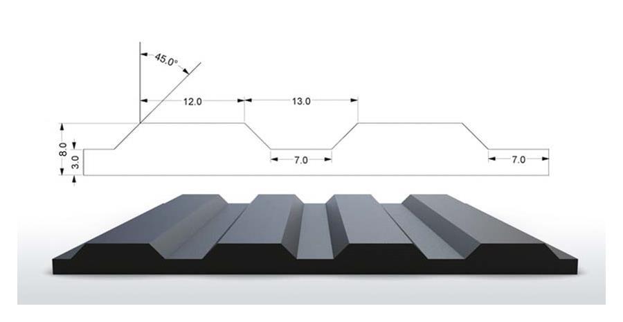Rillengummi Rollenware Design S4 Breite 120 cm, schwarz