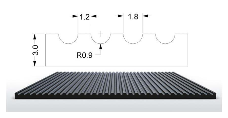 Rillengummi Rollenware Design S5 Breite 100 cm, schwarz