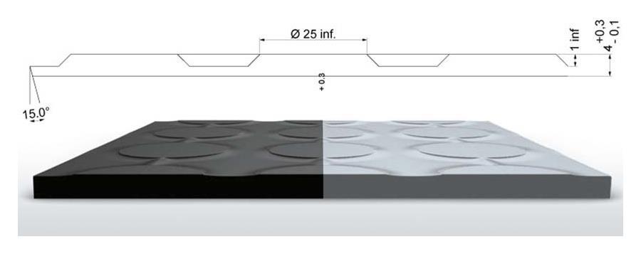 Rillengummi Rollenware Design S8 Breite 123 cm, schwarz