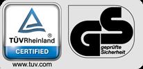 Dieses Produkt wurden hinsichtlich der Qualität und Tauglichkeit vom TÜV geprüft und mit dem GS-Sicherheitszertifikat ausgezeichnet.