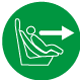 Diese Kindersitzerhöhung wird gemäß der ECE-Gruppen in Fahrtrichtung installiert.